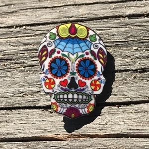 Jewelry - Day Of The Dead Skull Brooch Pin